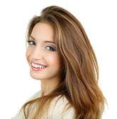 Beautiful smiling girl isolated on white — Stock Photo