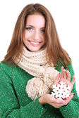 Beautiful smiling girl with Christmas snowflake isolated on white — Stockfoto
