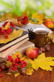 Books and autumn leaves on wooden table on natural background — Stok fotoğraf