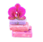 Soap and orchid isolated on white — Foto de Stock