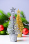 Decorative Christmas trees, fir tree branch, isolated on white — Stock Photo