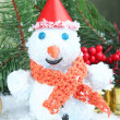 Beautiful snowmand Christmas decor, on bright background — Stock Photo #35284009