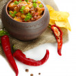 Chili Corn Carne - traditional mexican food, in pot, on sackcloth, isolated on white — Stock Photo #35285851