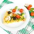 Slice of tasty vegetarian pizza and vegetables on plate, isolated on white — Stock Photo