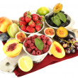 Assortment of juicy fruits and berries, isolated on white — Stock Photo