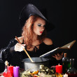 图库照片: Halloween witch on black background