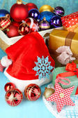 Beautiful Christmas composition with Christmas toys close-up — Stock Photo