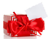 Gift box with blank label — Stock Photo