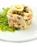 Russian traditional salad Olivier, isolated on white — Stock Photo