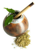 Calabash and bombilla with yerba mate isolated on white — Stock Photo
