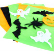 Bright felt and handmade Halloween decorations, isolated on white — Stock Photo #35350939