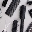Professional hairdresser tools on gray background — Stock Photo #35350635