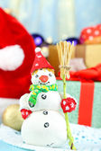 Beautiful Christmas composition with snowman close-up — Stock Photo
