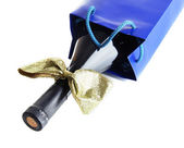 Gift box with wine isolated on white — Stock Photo