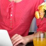 Woman writer for work flow close-up — Zdjęcie stockowe