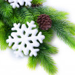 Christmas snowflakes on fir tree, isolated on white — Stock Photo