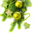 Stock Photo: Christmas balls and decorative stars on fir tree, isolated on white