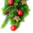 Stock Photo: Christmas balls on fir tree, isolated on white