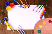 Composition of various creative tools on table close-up — Stock Photo