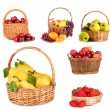 Collage of fruits in wicker basket isolated on white — Stock Photo