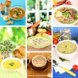 Stock Photo: Collage of different soups