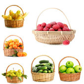 Collage of fruits and vegetables in wicker basket isolated on white — Stock Photo