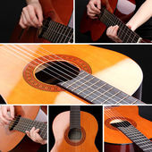 Collage of retro guitar — Stock Photo