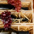 Wooden case with wine bottles close up — Stock Photo #35449783