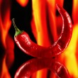 Stock Photo: Red hot chili pepper on fire background
