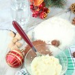 Cooking Christmas cookies on wooden table — Stock Photo #35450471