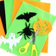 Bright felt and handmade Halloween decorations, isolated on white — Stock Photo #35450691