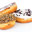 Sweet donuts isolated on white — Stock Photo