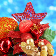 Composition of Christmas balls on blue background — Stock Photo #35451019
