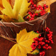 Beautiful autumn leaves and red berries in basket on wooden background — Stock Photo