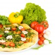 Tasty vegetarian pizza and vegetables, isolated on white — Photo