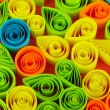 Zdjęcie stockowe: Colorful quilling on pink background close-up