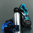 Different tools for sport on grey background — Foto de Stock