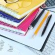 Office supplies with glasses and documents close up — Stock Photo