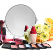 Stock Photo: Group decorative cosmetics for makeup and mirror, isolated on white