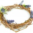 Wreath of dry branches with flowers isolated on white — Stock Photo