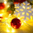 Christmas ornaments and garland close-up — Stok fotoğraf