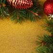 Beautiful Christmas decorations with fir tree on bright background — Stock Photo