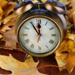 Old clock on autumn leaves on wooden table close-up — Zdjęcie stockowe
