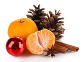 Christmas composition with tangerines isolated white — Stock Photo