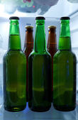 Bottles with drinks in refrigerator — 图库照片