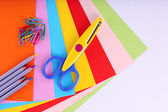 Colorful cardboard and scissors on white background — 图库照片