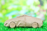 Car wrapped in brown kraft paper, on green grass, on nature background — Stok fotoğraf