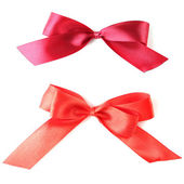 Color gift satin ribbon bows, isolated on white — Stock Photo