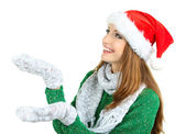 Beautiful smiling girl in New Year hat isolated on white — Stock Photo