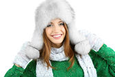 Beautiful smiling girl in hat isolated on white — Foto Stock